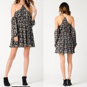 Lucca couture Cold shoulder dress with racer back